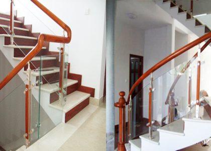 Nên dùng trụ lan can cầu thang kính hay trụ lan can cầu thang sắt?
